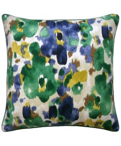 Watercolor Floral Pillow Marine