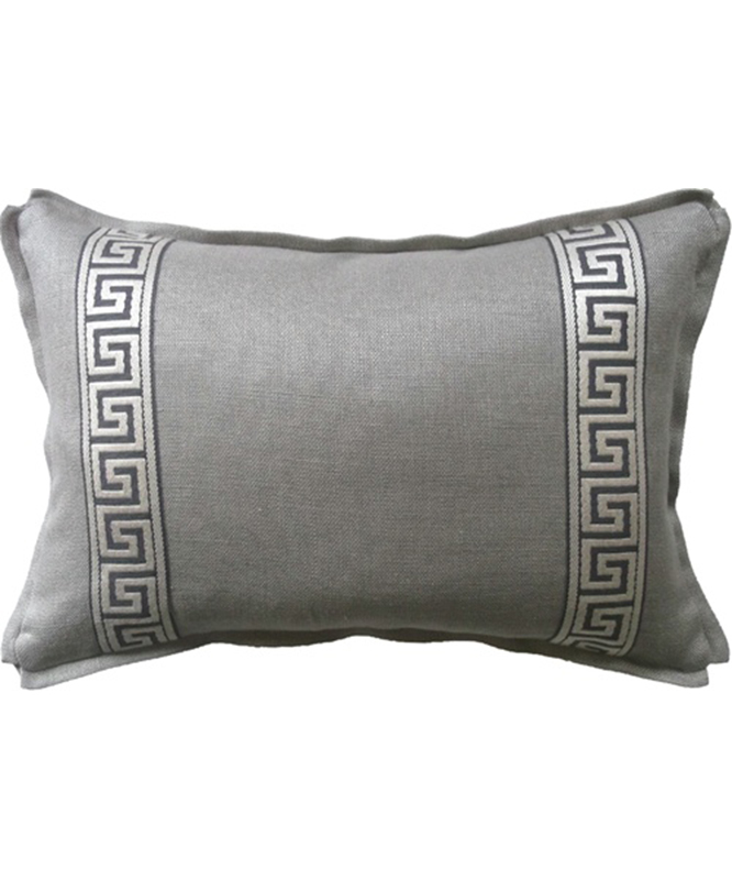 Greek Key Linen Lumbar Pillow