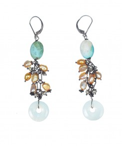 1074-25_Turquoise_Alabaster_&_Golden_Pearl_Earrings