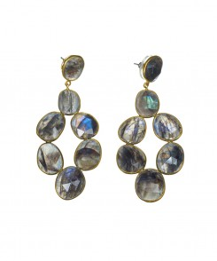 Labradorite Chandelier Earrings with Gold Vermeil