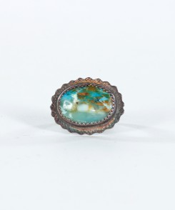 Elliptical Peruvian Opal Ring