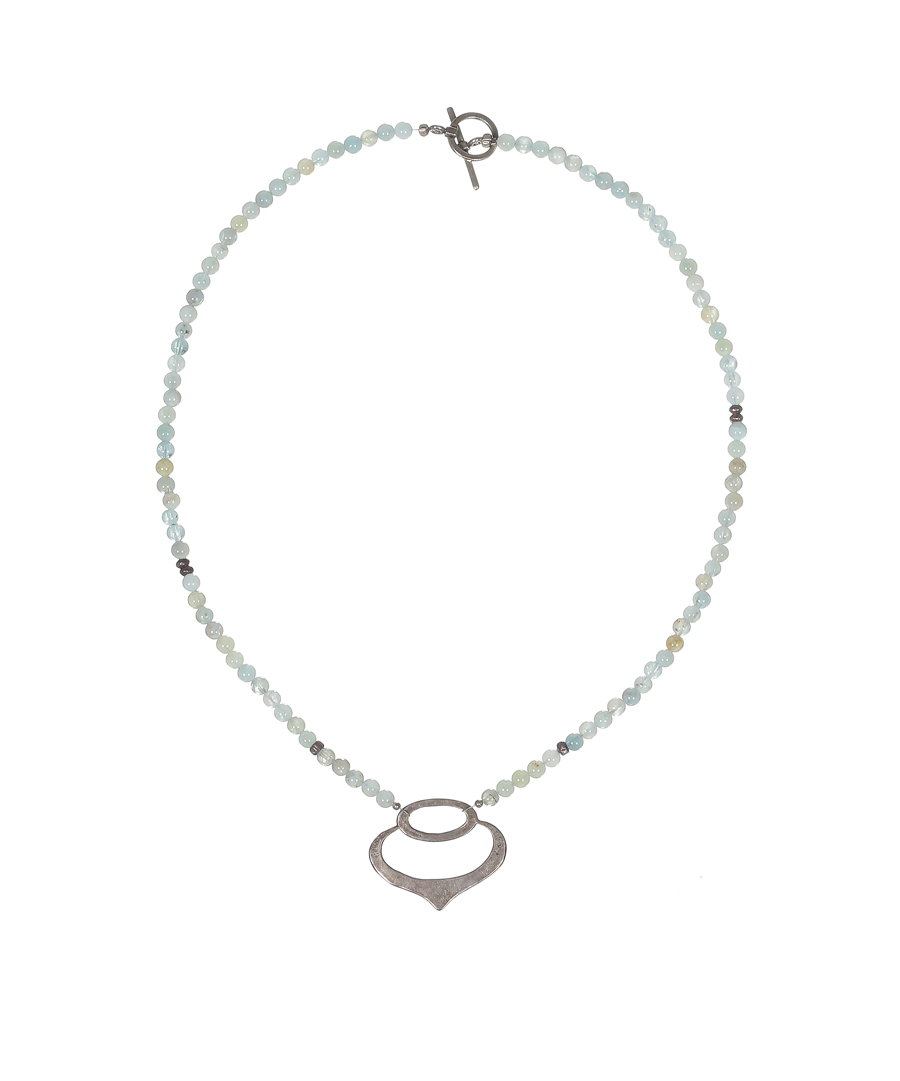 Silver Pendant Necklace with Aqua Beads