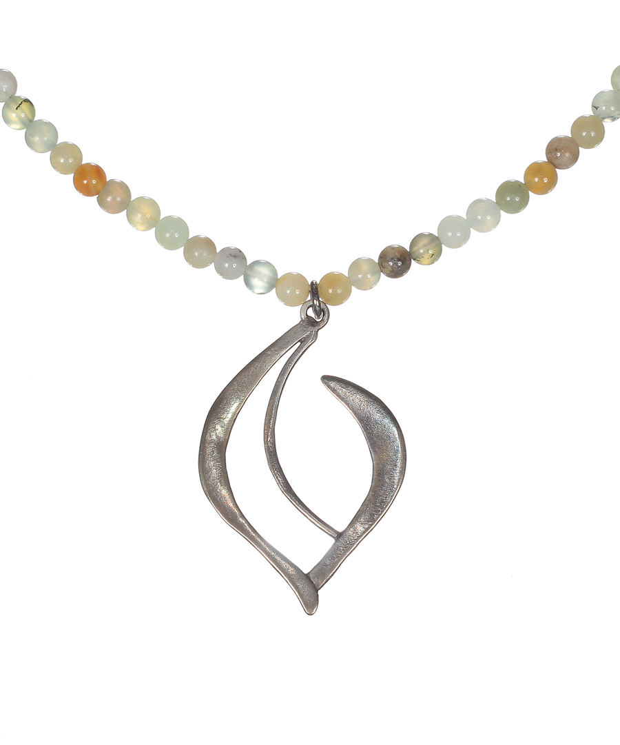 Teardrop Crescent Necklace with Jade Beads