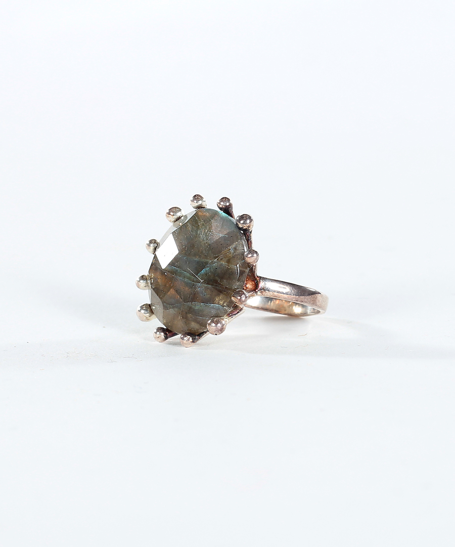 Silver Flower Labradorite Ring