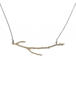Brass Branch Necklace with Oxidized Chain
