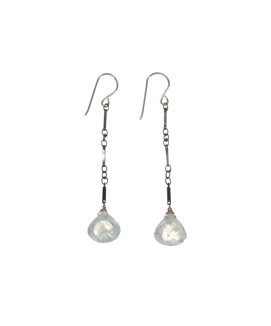 Gunmetal Moonstone Earrings