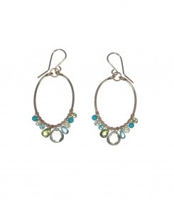 Oval Hoop Earrings with Stone Accents