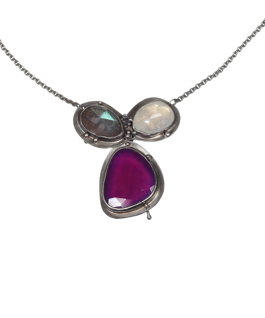 Labradorite Moonstone and Purple Onyx Neckace