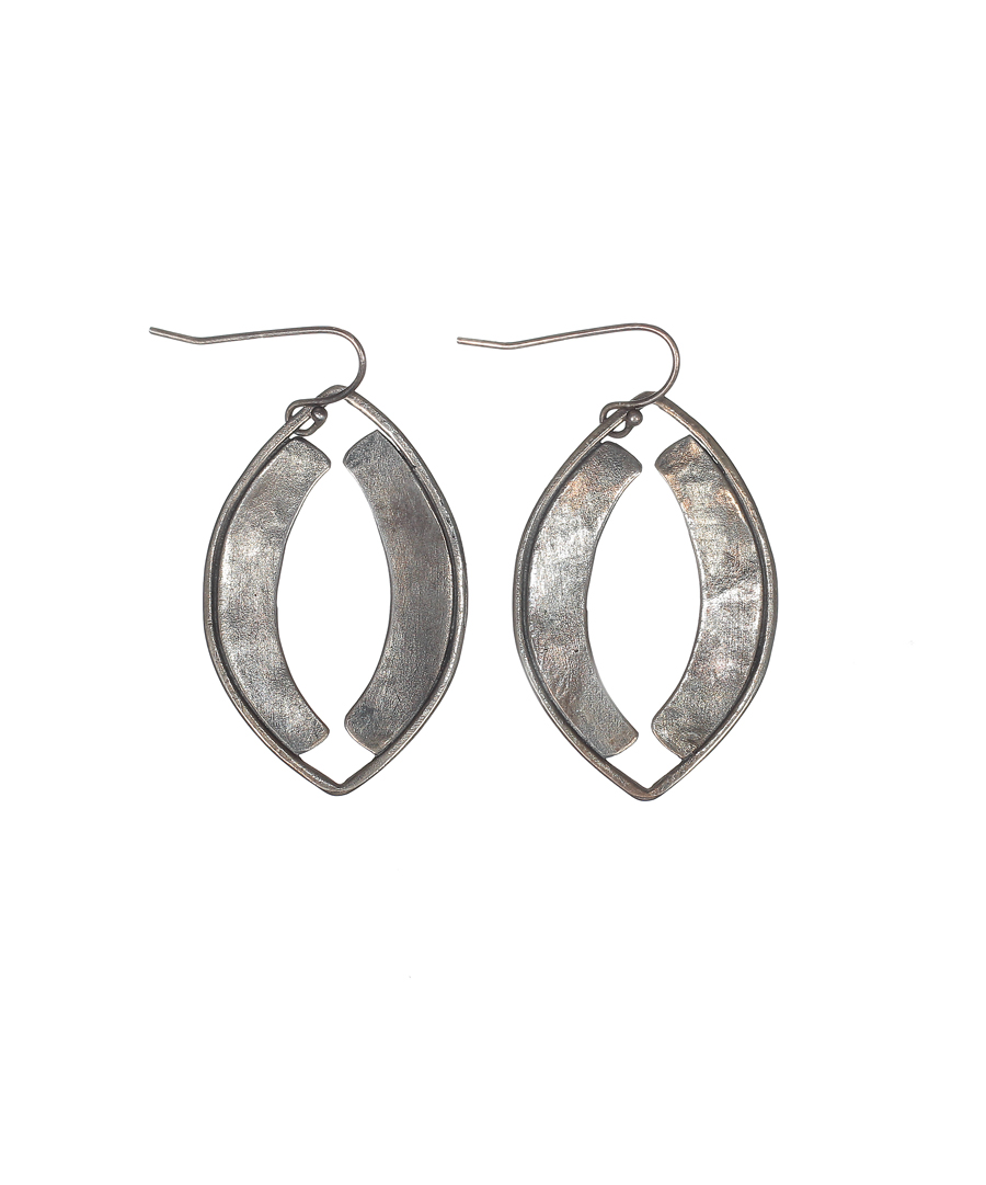 Oval Oxidized Silver Earrings