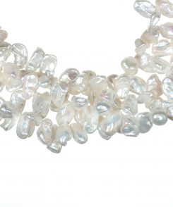 Three Strand White Keshi Pearl Necklace