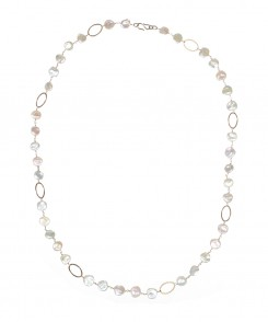 Pearl Necklace with Gold Ovals