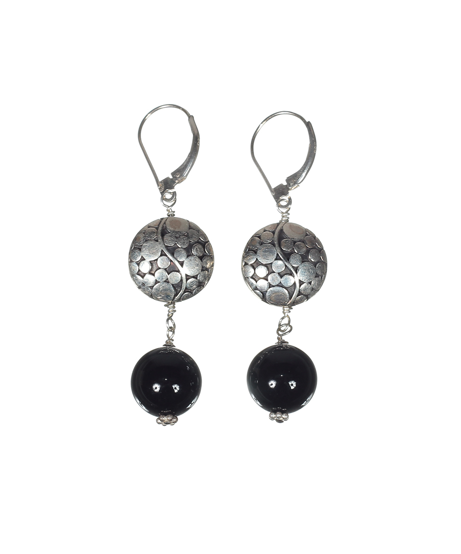 Silver Disc Earrings with Onyx
