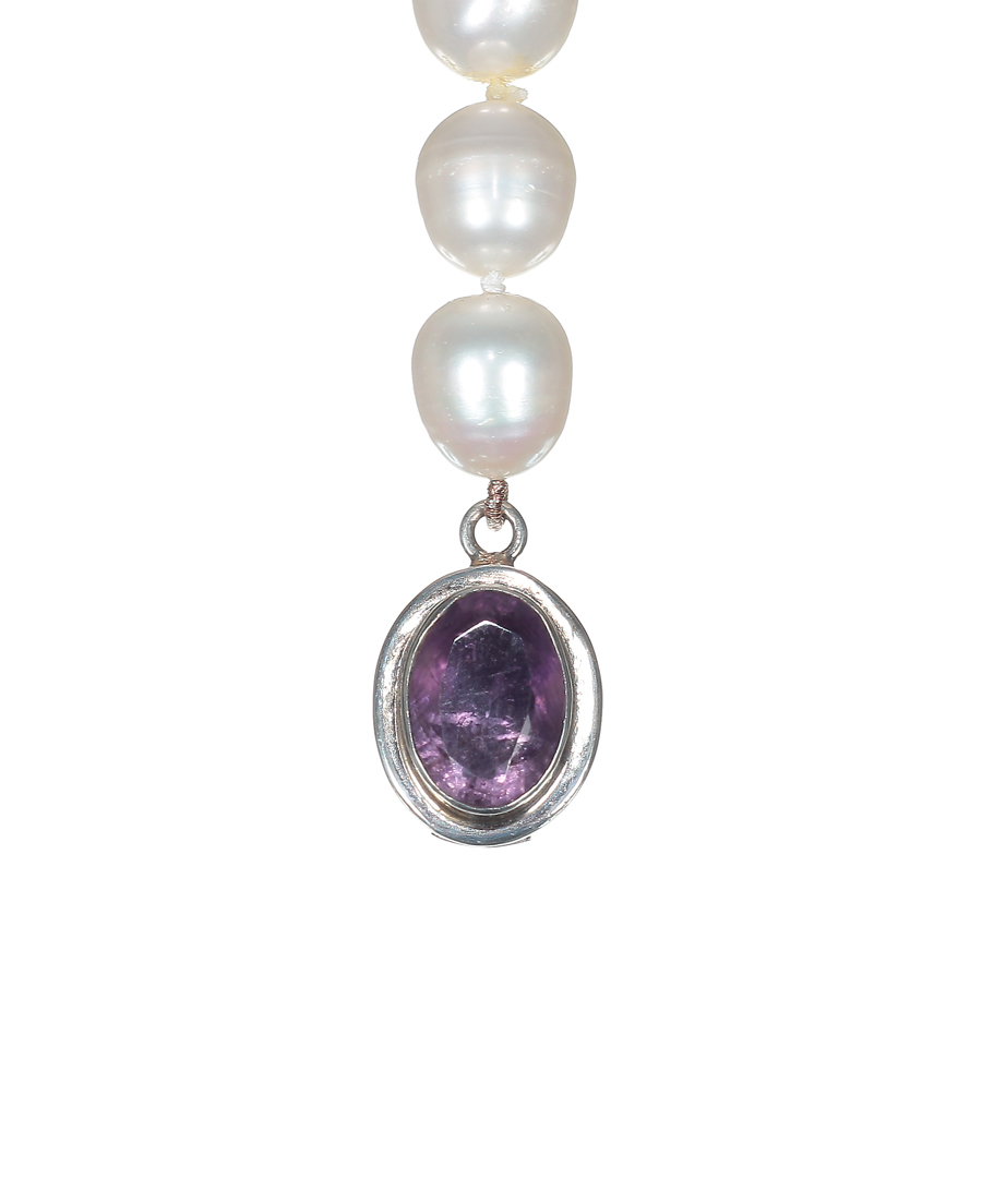 White Pearl Necklace with Amethyst Clasp