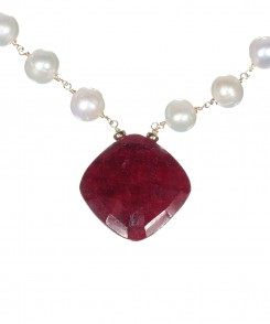 White Pearl Necklace with Large Ruby Pendant