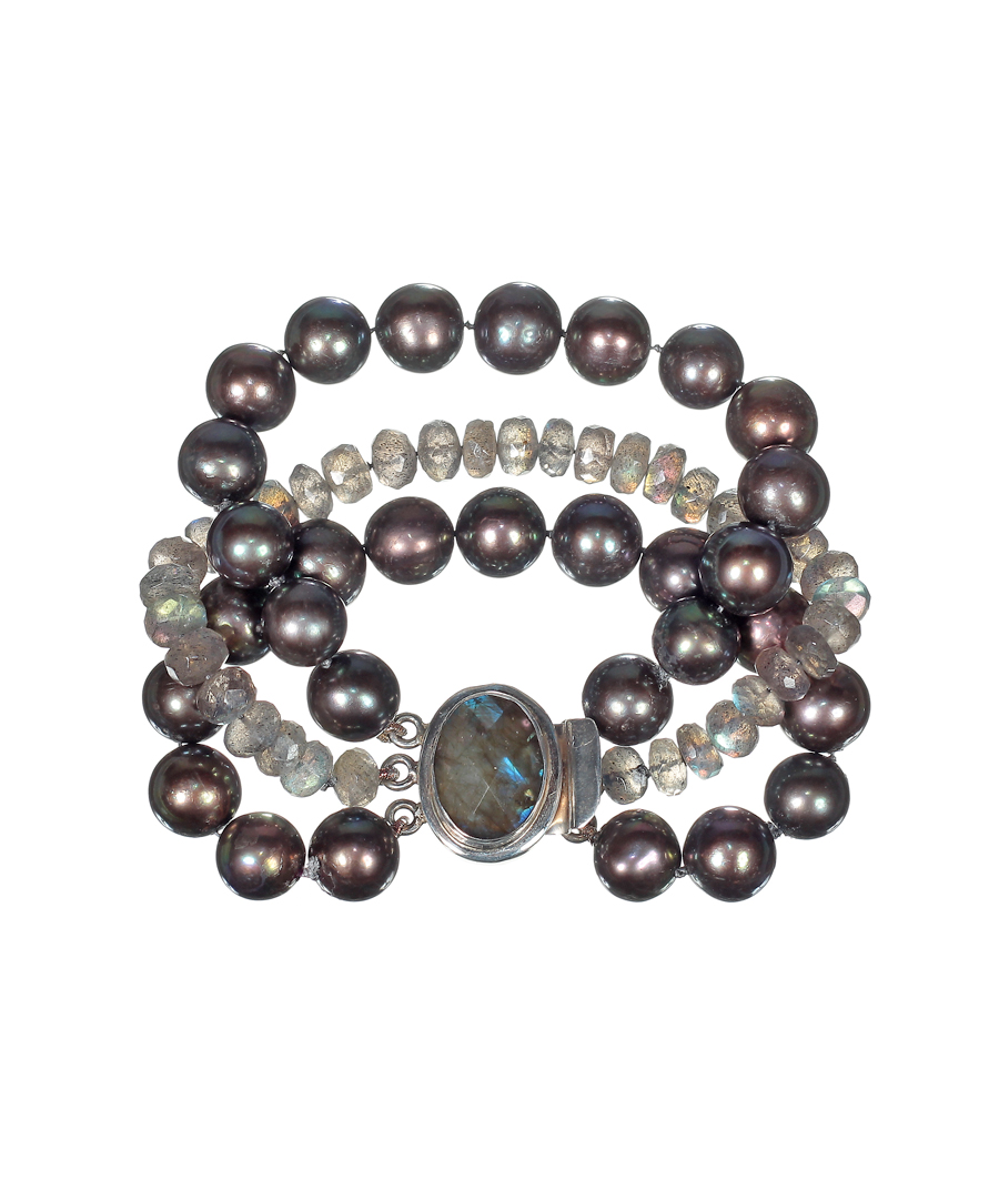 Black Pearl and Labradorite Bracelet