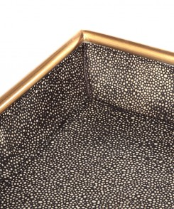 Gold Rimmed Faux Shagreen Tray