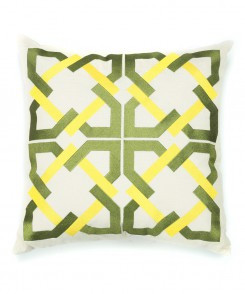 Embroidered Geometric Tile Pillow