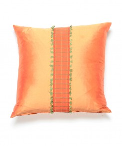 Thai Silk Coral Pillow with Center Fringe