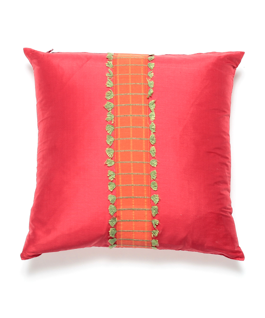 Thai Silk Red Pillow with Center Fringe