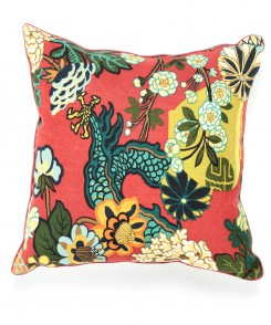 Red Dragon Chinoiserie Pillow