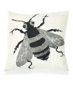 Block-Printed Linen Bee Pillow
