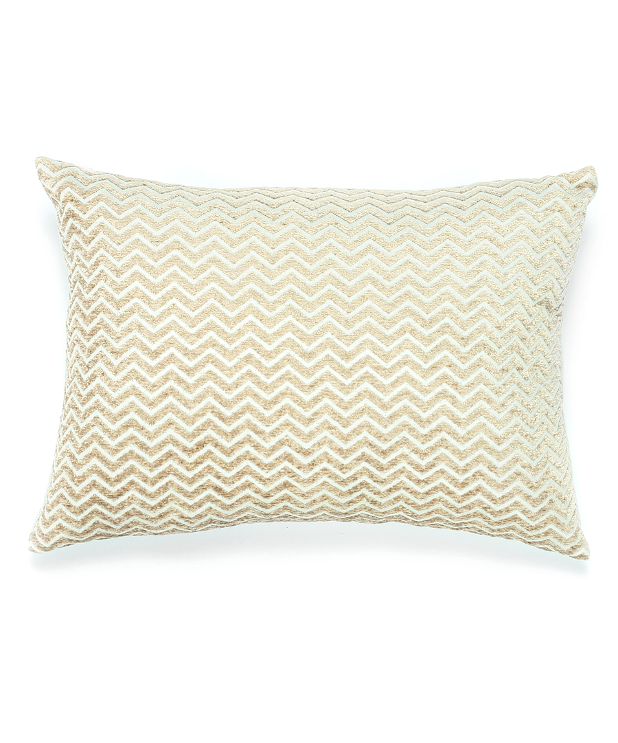 Beige and Ivory Chevron Pillow