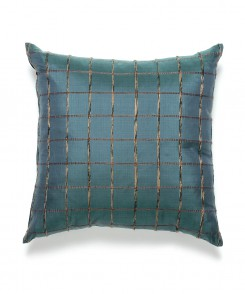 Teal Blue Check Thai Silk Pillow