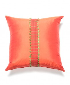Coral Thai Silk Pillow with Center Fringe