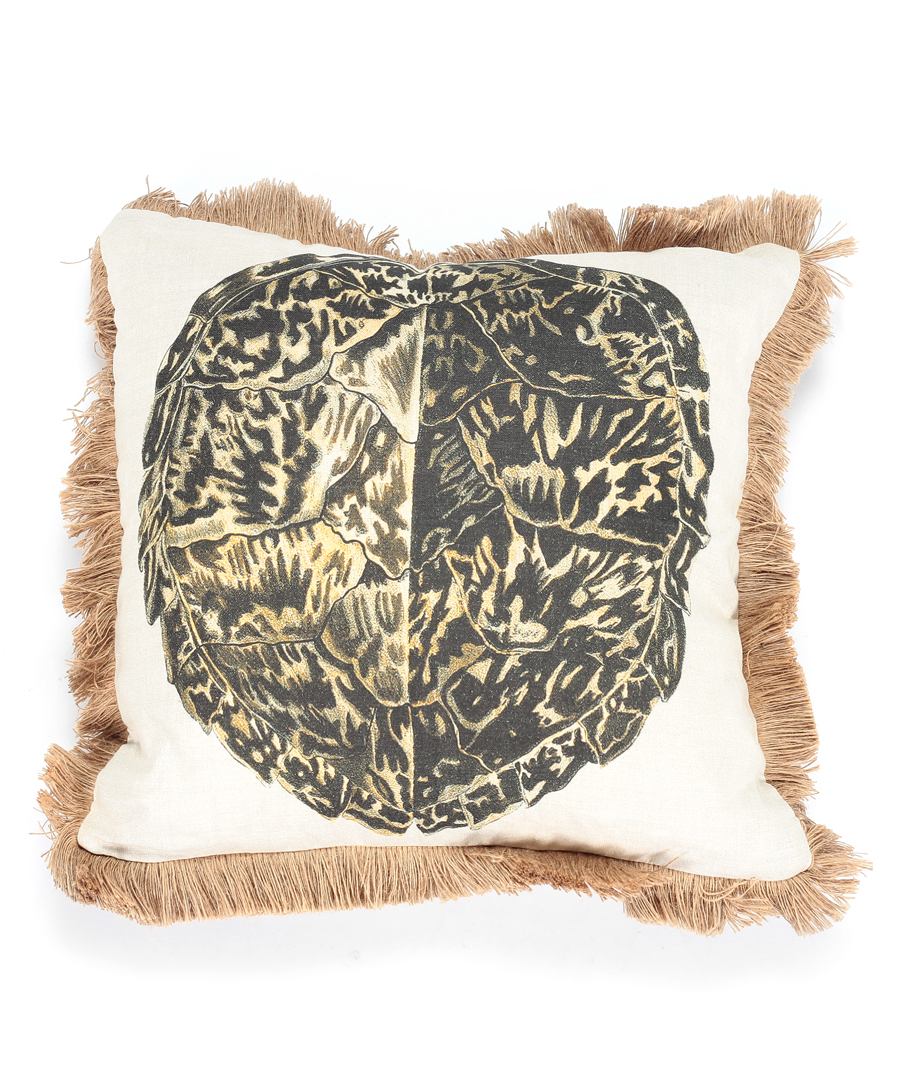 Tortoise Shell Pillow with Jute Fringe