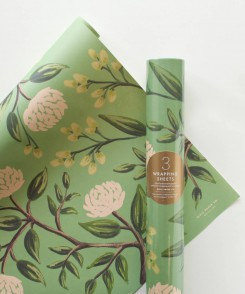 Emerald Peonies Wrapping Sheets