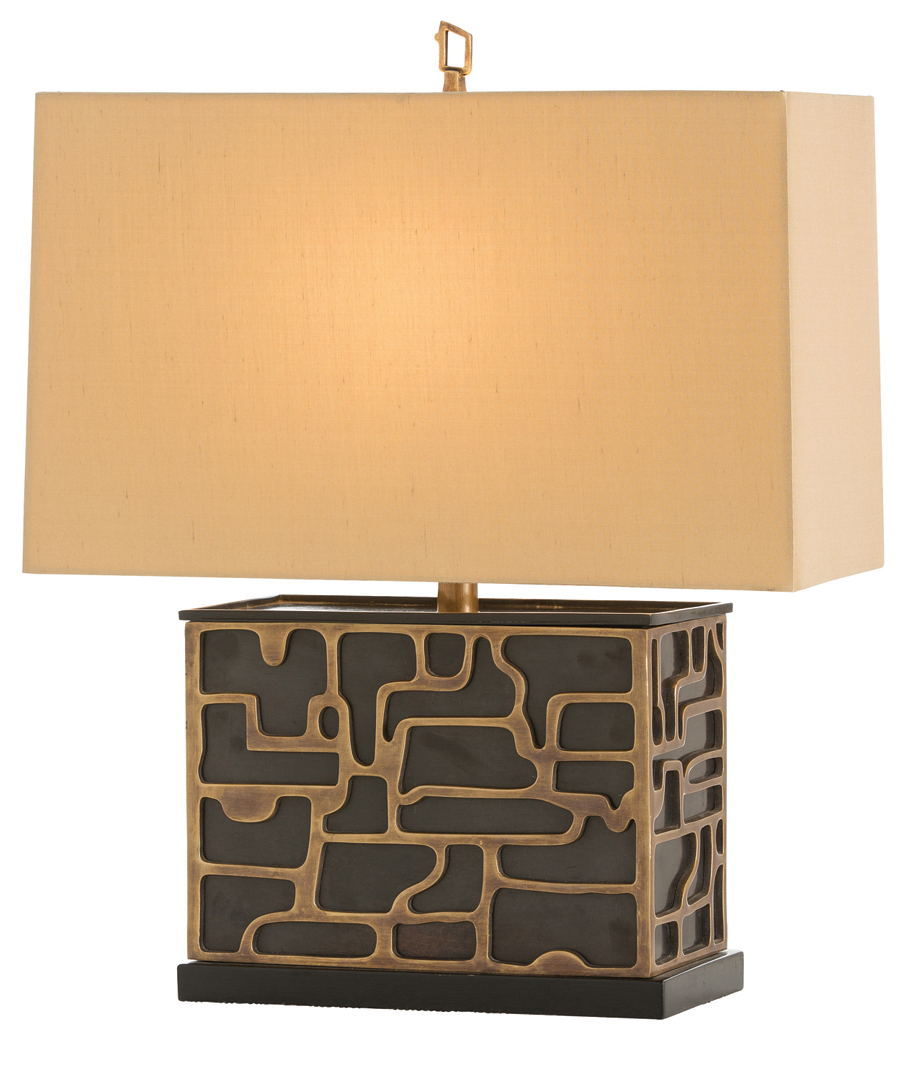 Cubed Bronze Table Lamp