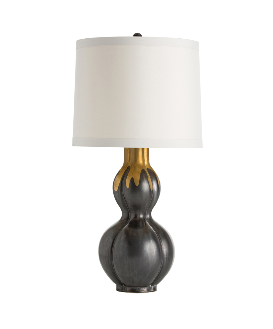 Gunmetal Porcelain Table Lamp