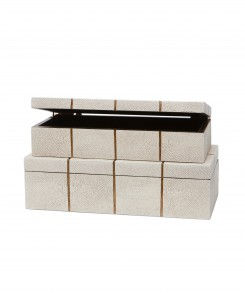 Off-White Faux Shagreen Box