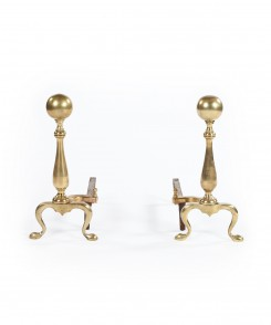 Brass Ball-Topped Andirons