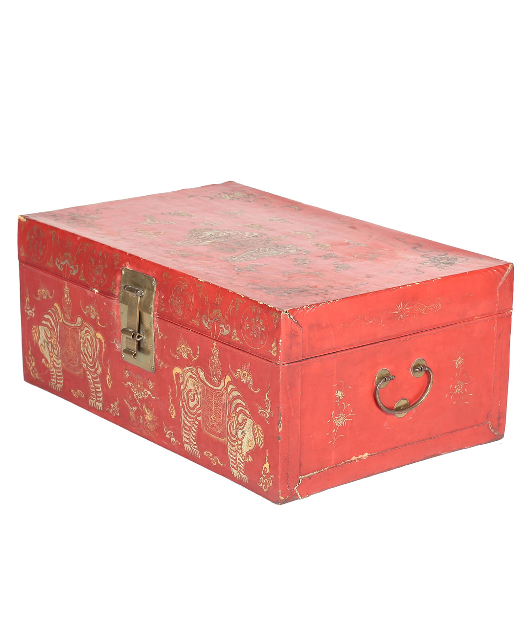 Antique Red Lacquer Trunk