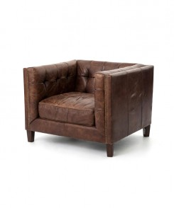 Cube distressed Leather Chair