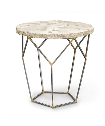 Fossilized Clam Side Table
