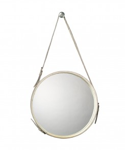 Jamie White Leather Mirror