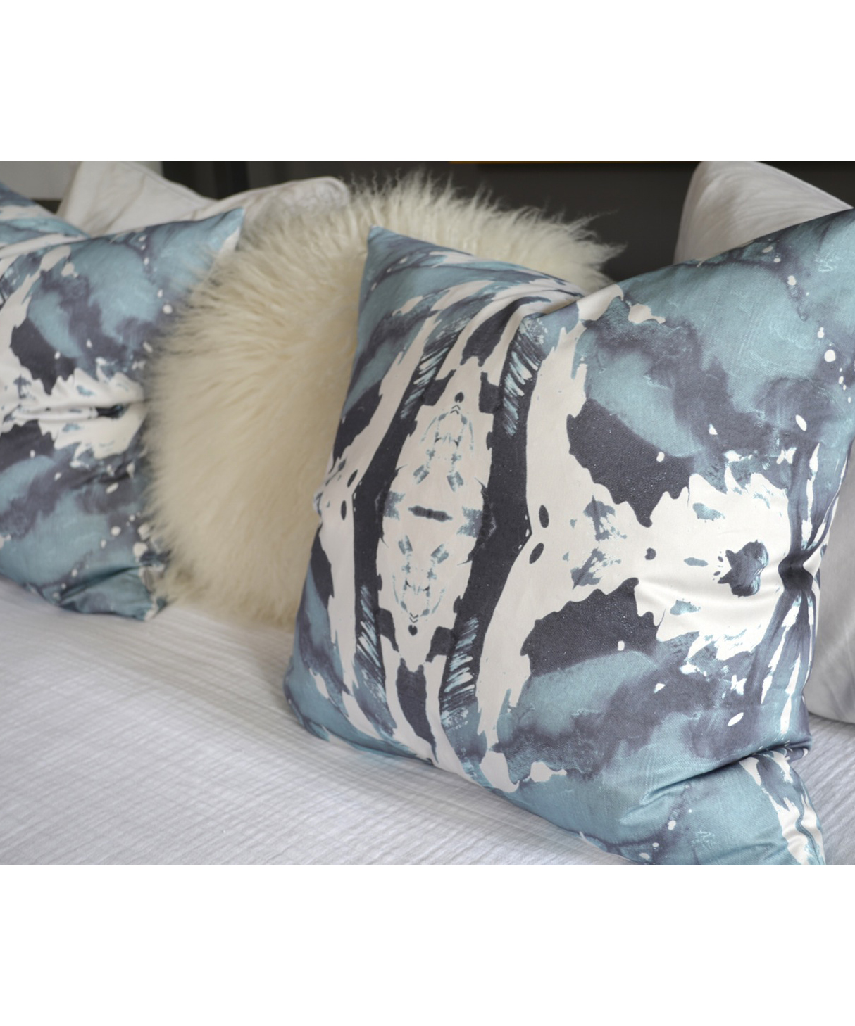 Abstract Blue Grey Pillow