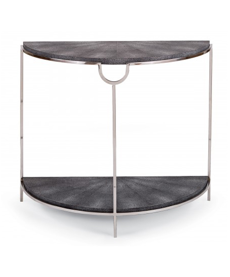 Faux Snake Demilune Console Charcoal