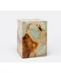 Bleached Teak And Clear Resin Stool
