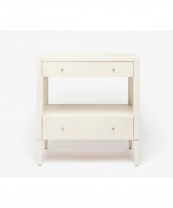 Faux Raffia Night Stand Off White
