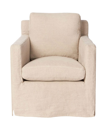 Louis Mini Slipcovered Swivel Chair