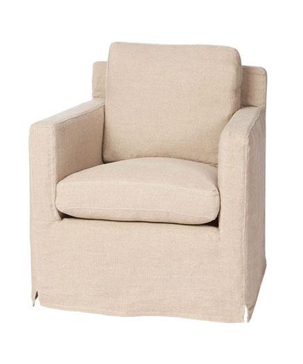 Louis Mini Slipcovered Swivel Chair ...