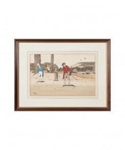 Golf Original Color Lithographs, Set of Three