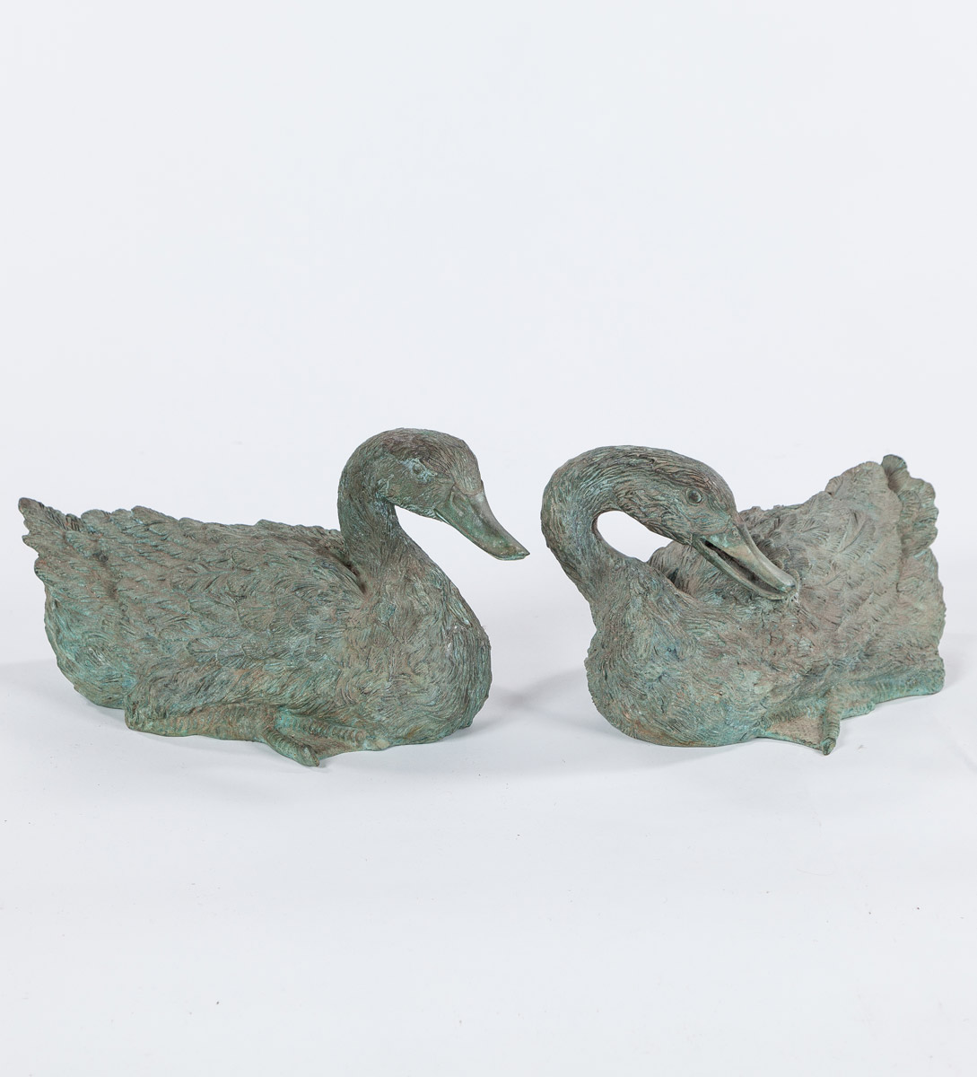Brass Duck Sculptures, Set of Two