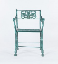 English Cast Iron Garden Chairs, Set of Two