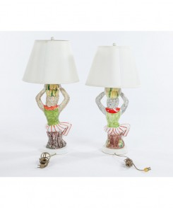 Vintage Ceramic Monkey Lamps, Set of Two