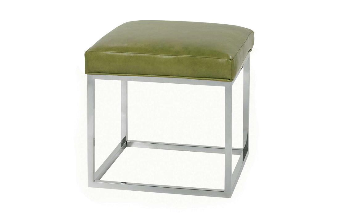 Sensational Percy Leather Ottoman Chrome Pabps2019 Chair Design Images Pabps2019Com
